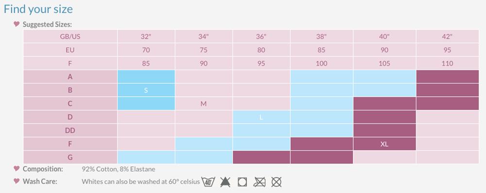 Lace Nurcing Bra Size Chart