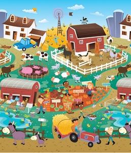 Εικόνα της Prince Lionheart Χαλί Παιχνιδιού City/Farm, 2 Όψεων
