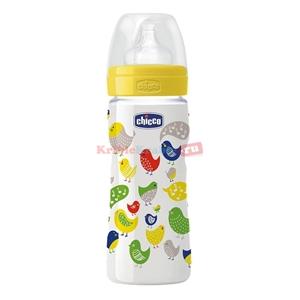 Εικόνα της Chicco Πλαστικό Μπιμπερό Well Being 0% BPA 330ml Θηλή Σιλικόνη