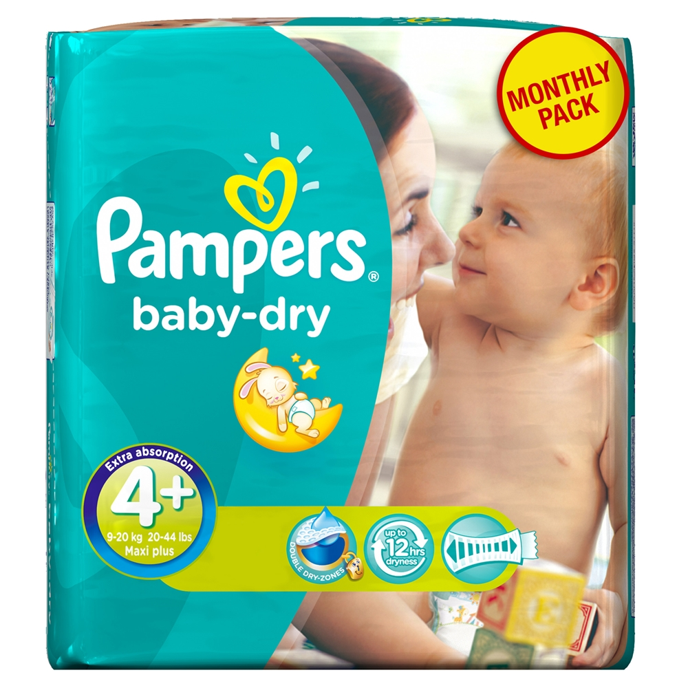 Pampers Baby Dry Maxi Plus No. 4 + (9-20 kg) Monthly Pack ee9ed85efdd