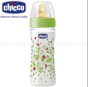 Εικόνα της Chicco Μπιμπερό Πλαστικό, Θηλή Καουτσούκ 250ml.