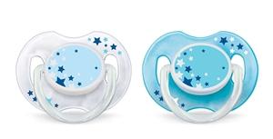 Picture of Philips Avent Νυχτερινή Ορθοδοντική Πιπίλα Σιλικόνης, 0-6 μηνών, Μπλε, Συσκευασία 2 Τεμαχίων