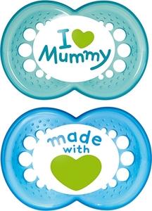 Picture of Mam I Love Mummy Ορθοδοντική Πιπίλα με θηλή Σιλικόνης. 2τμχ. (6+ μηνών) Blue