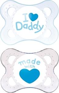 Εικόνα της Mam I Love Daddy Ορθοδοντική Πιπίλα με θηλή Σιλικόνης. 2τμχ. (0+ μηνών) Γαλάζιο