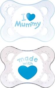 Εικόνα της Mam I Love Mummy Ορθοδοντική Πιπίλα με θηλή Σιλικόνης. 2τμχ. (0+ μηνών) Γαλάζιο
