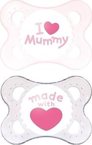 Εικόνα της Mam I Love Mummy Ορθοδοντική Πιπίλα με θηλή Σιλικόνης. 2τμχ. (0+ μηνών) Ροζ