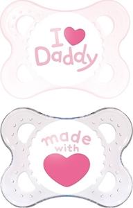 Εικόνα της Mam I Love Daddy Ορθοδοντική Πιπίλα με θηλή Σιλικόνης. 2τμχ. (0+ μηνών) Ροζ