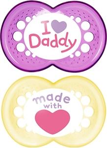 Εικόνα της Mam I Love Daddy Ορθοδοντική Πιπίλα με θηλή Σιλικόνης. 2τμχ. (6+ μηνών) Pink - Yellow