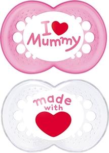 Εικόνα της Mam I Love Mummy Ορθοδοντική Πιπίλα με θηλή Σιλικόνης. 2τμχ. (6+ μηνών) Pink - White