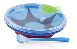 Nuby Σετ Φατητού με πιάτο με βεντούζα & κουτάλι, Blue