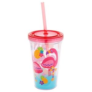 Stephen Joseph Ποτήρι Με Καλαμάκι Tumbler, Flamingo