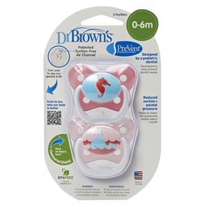 Dr. Brown's Ορθοδοντική Πιπίλα Prevent Πεταλούδα Ροζ Επίπεδο 1 (0-6 m) 2 τμχ