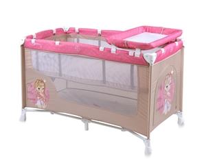 Εικόνα της Lorelli Παρκοκρέβατο 2 επιπέδων Baby Nanny Beige & Rose Princess