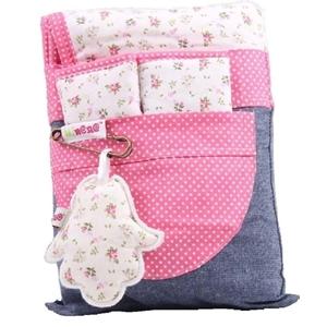 Picture of Minene Κάλυμμα καροτσιού με επωμίδες Ροζ Λουλούδια / Πουά
