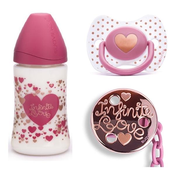 Picture of Suavinex Haute Couture Set Little Star Ροζ, Πλαστικό Μπιμπερό 270ml