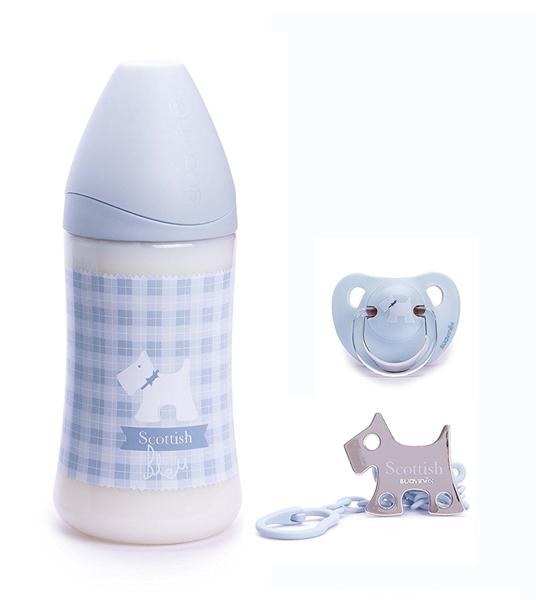 Picture of Suavinex Σετ Δώρου Scottish Μπιμπερό, Πιπίλα & Κλιπ Πιπίλας Baby Blue 270ml