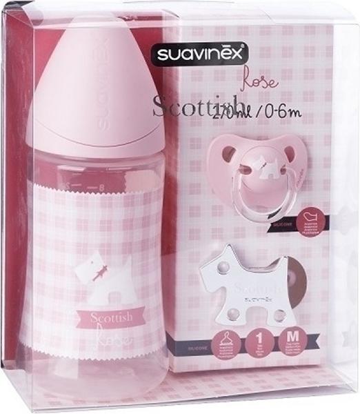 Picture of Suavinex Σετ Δώρου Scottish Μπιμπερό, Πιπίλα & Κλιπ Πιπίλας Pink 270ml