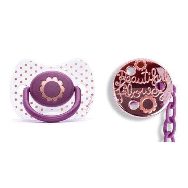 Picture of Suavinex Fusion Πιπίλα Σιλικόνης Haute Couture Flower & Κλιπ 4Μ+