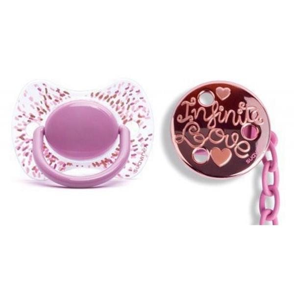 Picture of Suavinex Fusion Πιπίλα Σιλικόνης Haute Couture Pink & Κλιπ 4Μ+