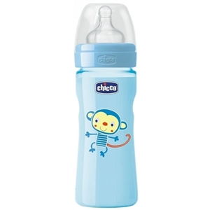 Εικόνα της Chicco Μπιμπερό Πλαστικό, Θηλή Σιλικόνης, Μπλε 330ml.