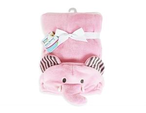 Εικόνα της First Steps Κουβέρτα Αγκαλιάς με Κουκούλα Ροζ Ελέφαντας