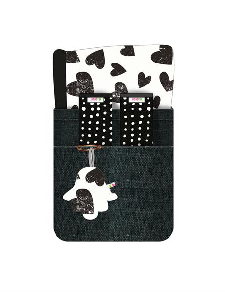 Picture of Minene Κάλυμμα Καροτσιού με Επωμίδες Ασπρόμαυρες Καρδούλες