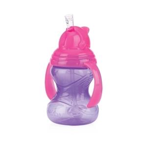 Picture of Nuby Εκπαιδευτικό Ποτηράκι Με Χερούλια Κατά Των Διαρροών Twin Handle Flip It 360 Straw 300ml, Purple