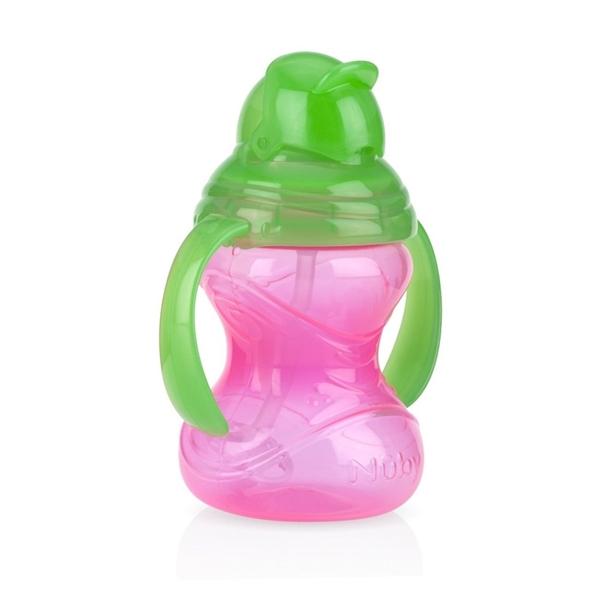 Picture of Nuby Εκπαιδευτικό Ποτηράκι Με Χερούλια Κατά Των Διαρροών Twin Handle Flip It 360 Straw 300ml, Pink