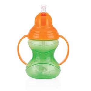Εικόνα της Nuby Εκπαιδευτικό Ποτηράκι Με Χερούλια Κατά Των Διαρροών Twin Handle Flip It 360 Straw 300ml, Green