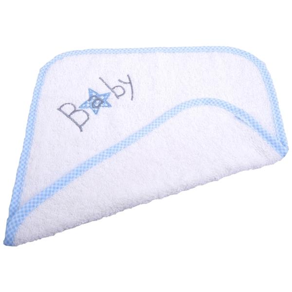 Picture of Λαβέτα Πετσέτας Baby Λευκή με Σιέλ Καρώ Ρέλι