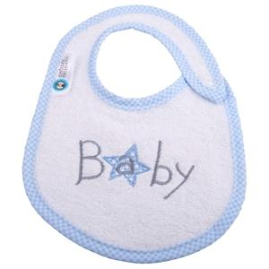 Εικόνα της Σαλιάρα Μικρή Πετσετέ Baby Λευκή με Καρώ Ρέλι
