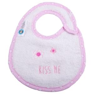 Εικόνα της Σαλιάρα Μικρή Πετσετέ Kiss Me Λευκή με Ρέλι