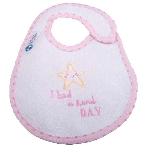 Picture of Σαλιάρα Μεγάλη Πλαστικοποιημένης Πετσέτας, Hard Day Ροζ