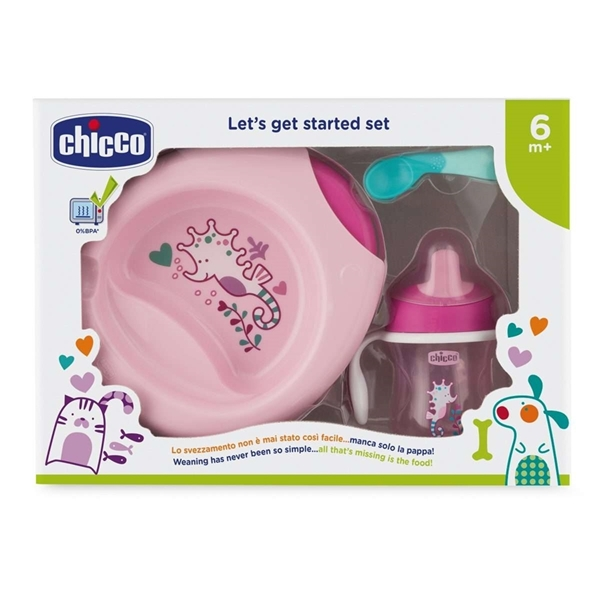 Picture of Chicco Σετ Φαγητού 6M+ (Πιάτο/Μπωλ+Ποτήρι+Κουτάλι) Ροζ