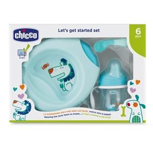 Εικόνα της Chicco Σετ Φαγητού 6M+ (Πιάτο/Μπωλ+Ποτήρι+Κουτάλι) Σιέλ