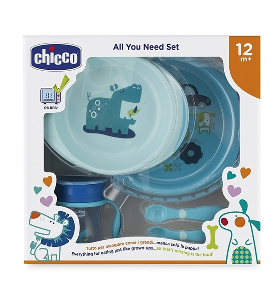 Picture of Chicco Σετ Φαγητού 12M+ (Πιάτο+Μπωλ+Ποτήρι+Κουτάλι+Πηρούνι) Σιέλ
