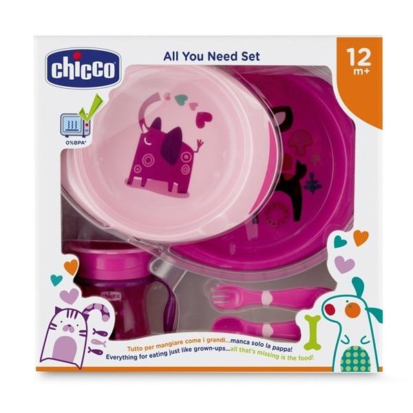 Picture of Chicco Σετ Φαγητού 12M+ (Πιάτο/Μπωλ+Ποτήρι+Κουτάλι+Πηρούνι) Ροζ