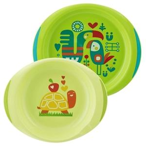 Εικόνα της Chicco Σετ Πιάτο + Μπωλ 12Μ+ Πράσινο