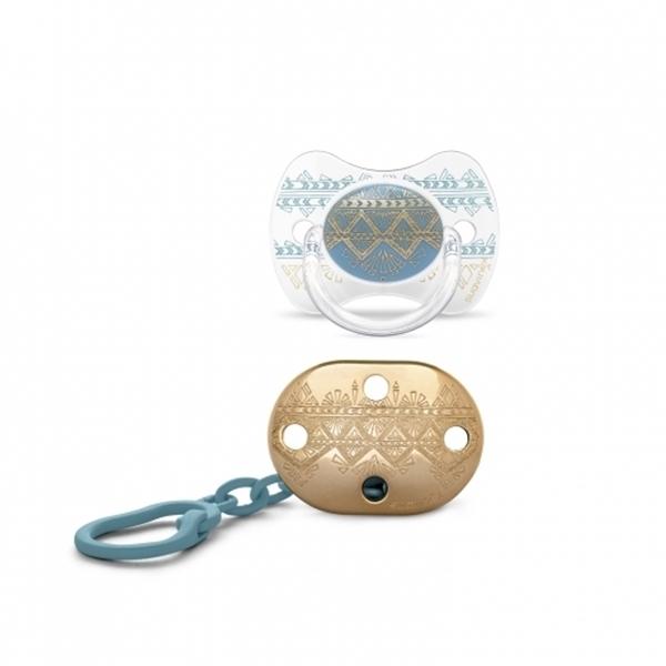 Picture of Suavinex Couture Πιπίλα Σιλικόνης & Κλίπ 4-18m Light Blue