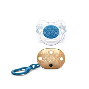 Picture of Suavinex Couture Πιπίλα Σιλικόνης & Κλίπ 4-18m Blue