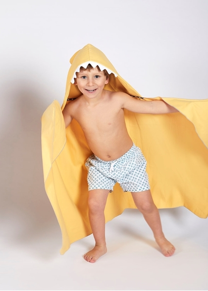 Little Champions Πόντσο / Πετσέτα Microfiber, Yellow Shark