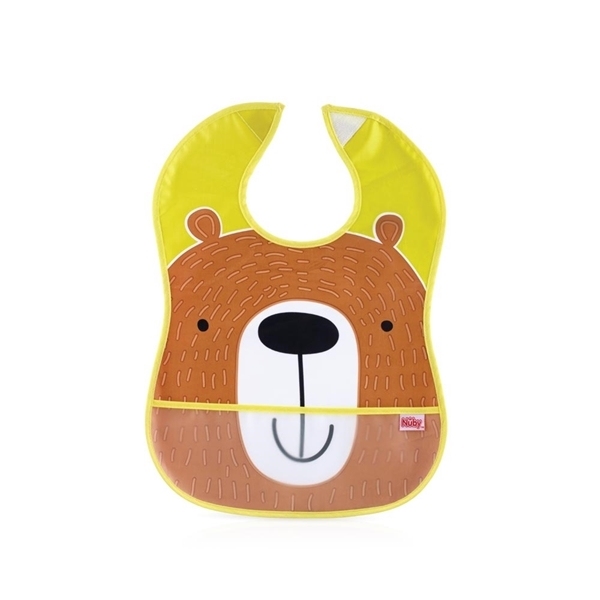 Nuby Αδιάβροχη Σαλιάρα με Τσεπάκι & Velcro, Bear