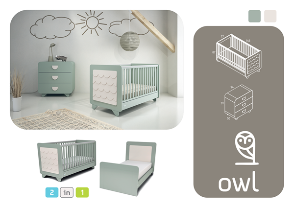 CasaBaby Βρεφικό Σετ Δωματίου Owl - Mint