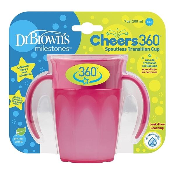Dr. Browns Κύπελλο Μilestones Cheers 360° Με Λαβές Ροζ 200ml