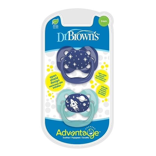 Dr. Browns Πιπίλες Advantage Πεταλούδα 0-6 μηνών (2τεμ) Σιέλ