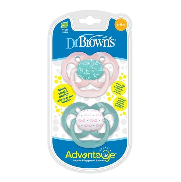 Dr. Browns Πιπίλες Advantage Πεταλούδα 6-18 μηνών (2τεμ) Ροζ