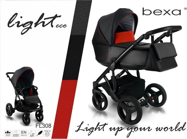 Bexa Καρότσι 2 σε 1 Light Eco Leather, Black Red FL308