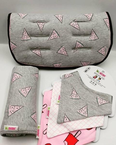 Minene Κάλυμμα Καροτσιού Gray-Pink Watermelon