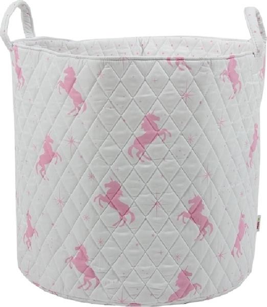 Minene Μεγάλο Καλάθι Αποθήκευσης Λευκό-Ροζ Unicorn