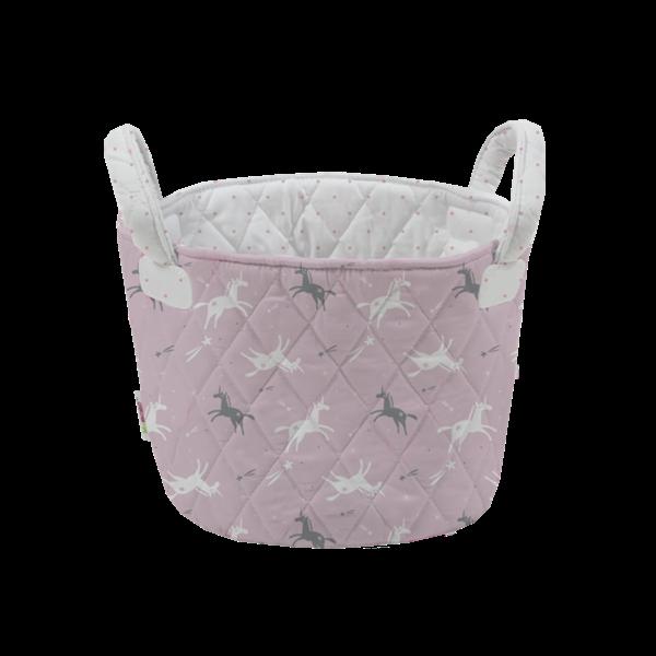Picture of Minene Μικρό Καλάθι Αποθήκευσης Γκρι-Ροζ Unicorn